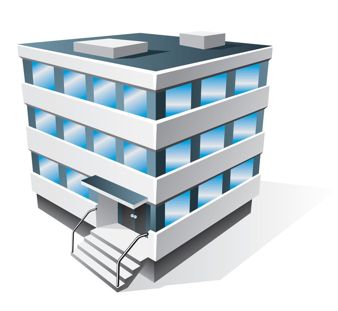 13847886 - four office buildings icons in cartoon style